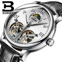 Крутые брендовые модные двойные турбийоны механические часы с автоподзаводом кожаный ремешок Мужская одежда наручные часы в римском стиле
