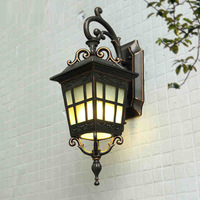 Vintage Classic European Cottage Iron Glass Led E27 Wall Lamp For Outdoor Entrance Garden Balcony Porch
