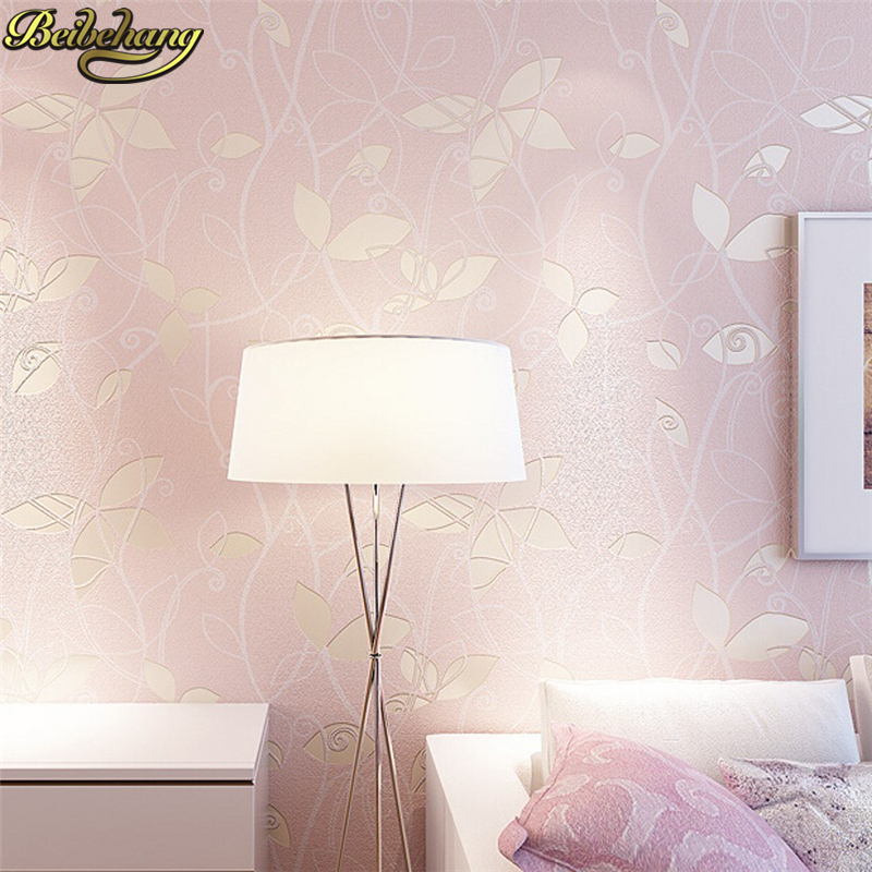 beibehang romantic floral Non Woven flocking wallpaper for bedroom living room girls room home decoration 3D wall paper roll non woven luminous wallpaper roll stars and the moon boys and girls children s room bedroom ceiling fluorescent home wallpaper