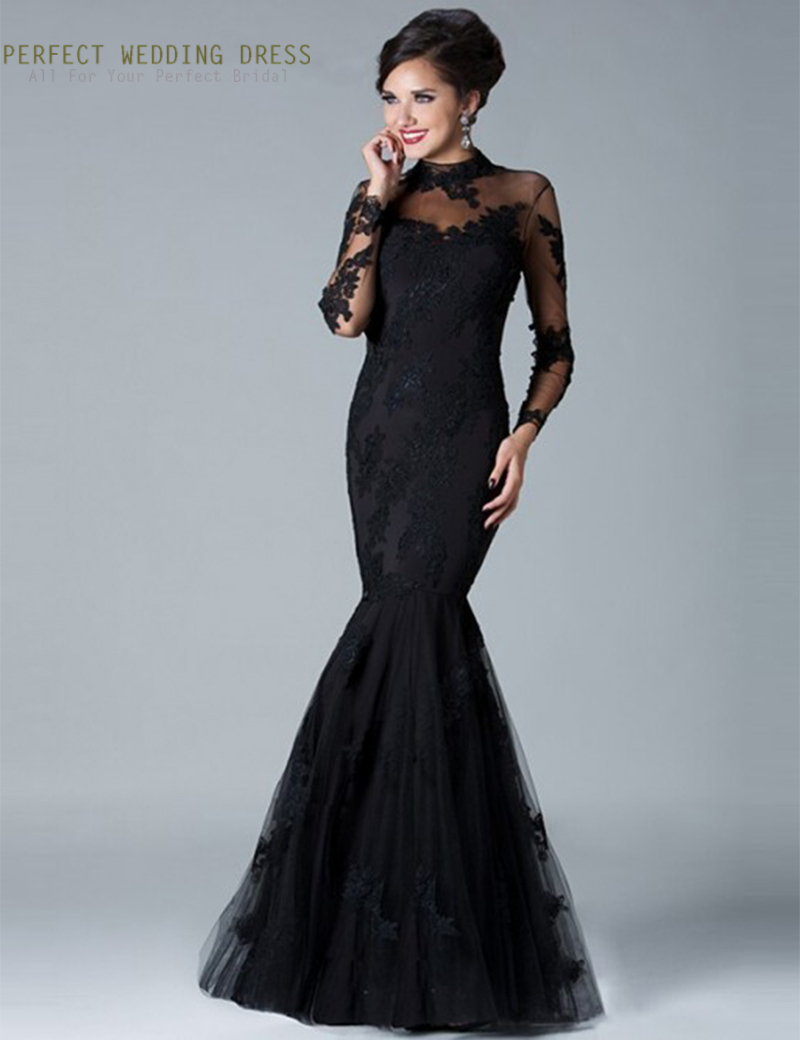 Online Get Cheap Black Tulle See Through Long Sleeve Evening Dress ...