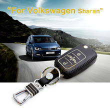 Key cover for volkswagen vw sharan 2012 2013 2014 multivan 2.0L Leather Car Cover wallet holder remote case key2a