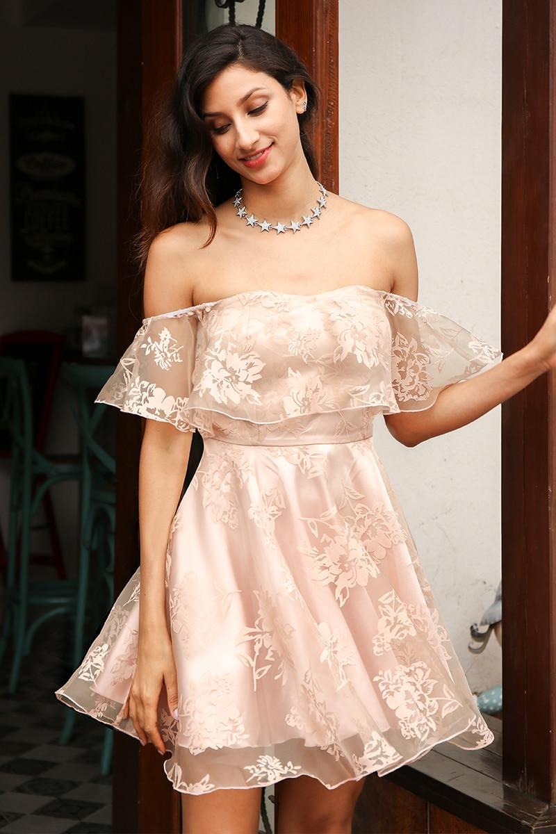 Off Shoulder Flower Mesh High Waist Backless Mini Dress
