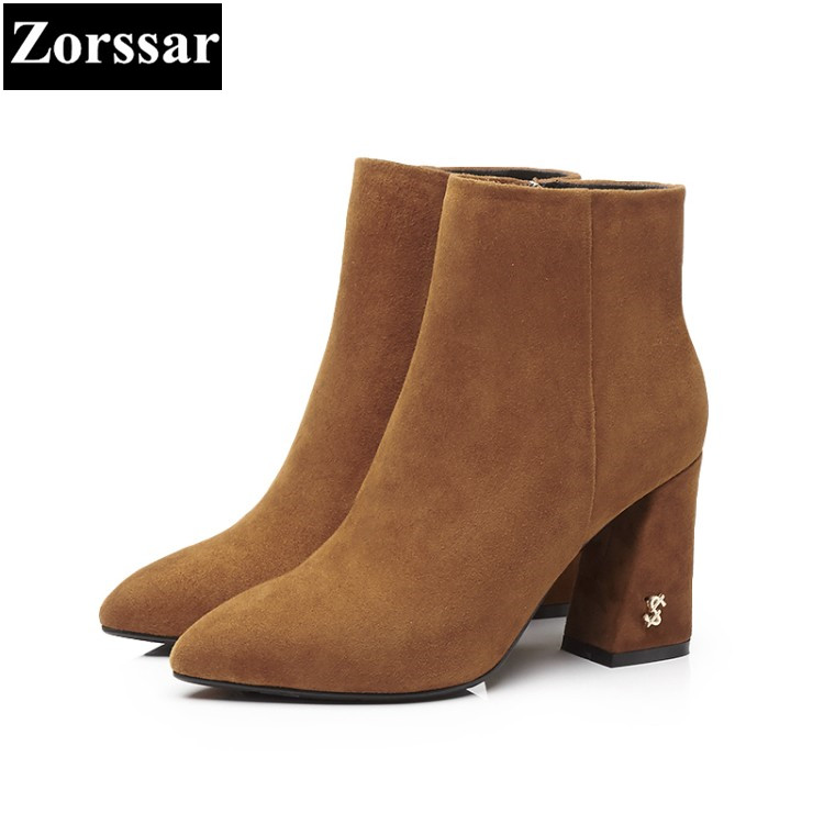 {Zorssar} 2018 Large size Women Boots Thick heel pointed Toe High heels ankle Riding boots fashion kid suede womens shoes winter egonery quality pointed toe ankle thick high heels womens boots spring autumn suede nubuck zipper ladies shoes plus size