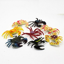 mini PVC figure Doll simulation marine animals crabs hermit kill crab children's cognitive model toys Decoration 10pcs/set