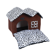 Luxury Pet House Leopard Dog Spot Double Top Foldable Cat Kennel Soft Warm Mat Bed PP Cotton High Quality