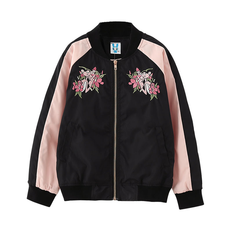 B-B17016 Spring Autumn Girls Coat 95%Cotton Jacket Child Fashion Summer Kids Solid Color Coat 8-14Y Teenager Child Zip-up Jacket color block bird embroidered raglan sleeve zip up jacket