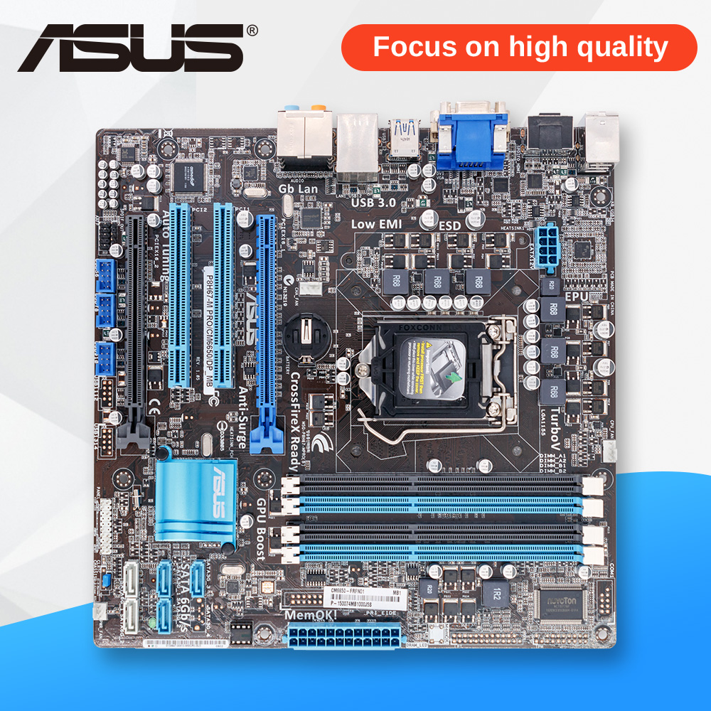 Asus P8H67-M PRO/CM6650/DP Desktop Motherboard H67 Socket LGA 1155 i3 i5 i7 DDR3 32G uATX asus p8h61 plus desktop motherboard h61 socket lga 1155 i3 i5 i7 ddr3 16g uatx uefi bios original used mainboard on sale