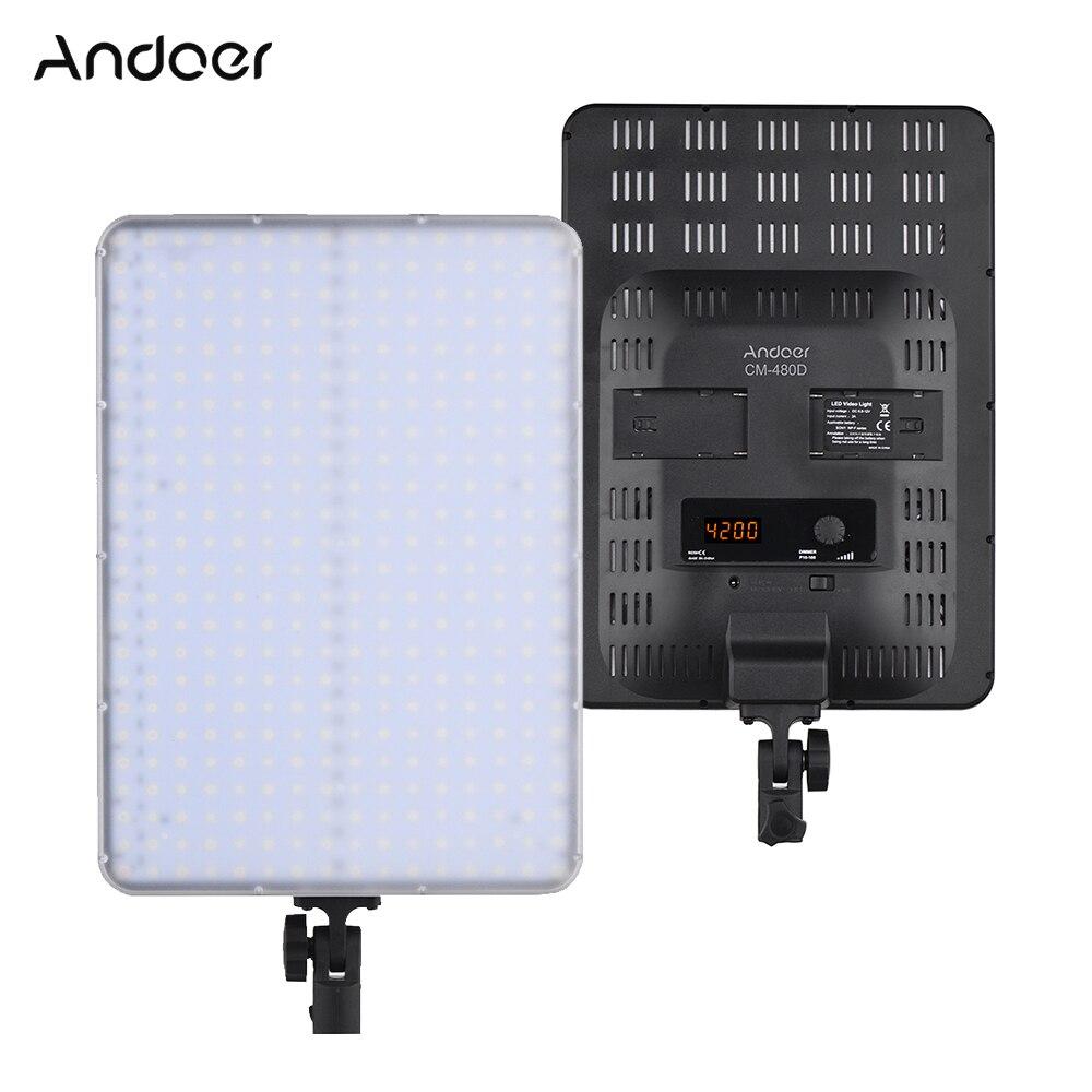Andoer CM 480D CRI93 Ultrathin Lightweight Bi color 3200K 5600K LED Video Light for Canon Nikon