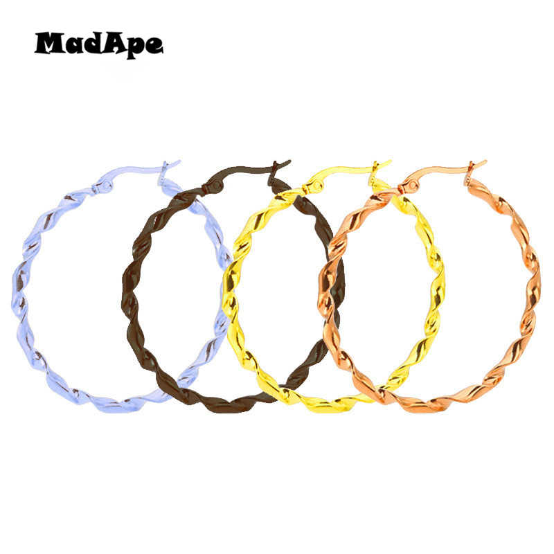 MadApe Anti Allergic 316L Stainless Steel Big Size Round Hoop Earrings For Women 2019 Fashion Jewelry Never Fade Hoop Earrings