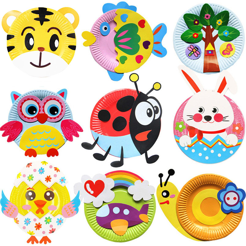 10Pcs Colorful Paper Plates Tray DIY Handmade Painting Drawing Crafts Montessori Toy For Kids Creativity Toys Material Package