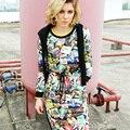 2016 nova Europa inverno moda para baixo revestimento das mulheres de impressão longo casaco para baixo