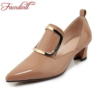 FACNDINLL New Spring Women Pumps Shoes Genuine Leather Thick High Heels Pointed Toe Woman Dress Party