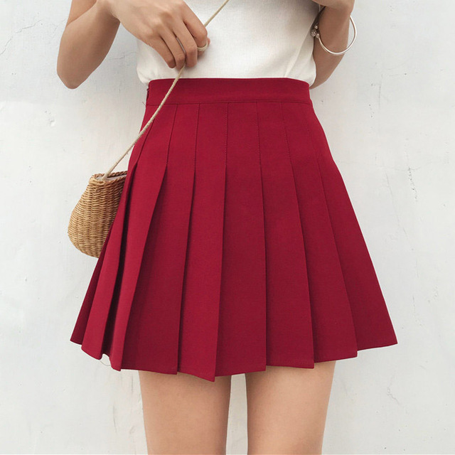 d7b398f1dc High Waist Lolita Pleated Skirts Girls A-line Mini Sailor Skirt Plus Size  School Uniform Skirts Falda Femininas