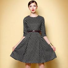 Spring Autumn Women Dress Plaid Half sleeve Black and White Chequered OL O neck Casual Dresses