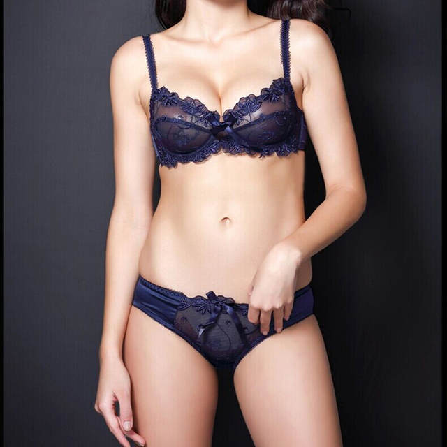 2c89c7c593dc0 French Female Underwear Women Bra Set Embroidery Sexy transparent lace bra  and panty set plus size
