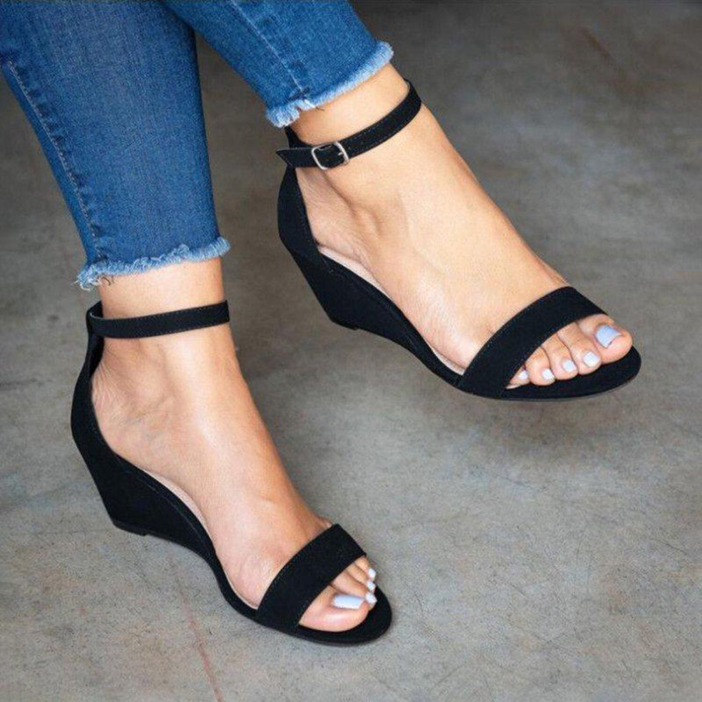 HTB1gDpEX21G3KVjSZFkq6yK4XXaQ sandals women Ladies Fashion Solid Buckle Ankle Strap Wedges Sandals Casual Shoes Zapatos De Mujer Sapato chaussures Feminino