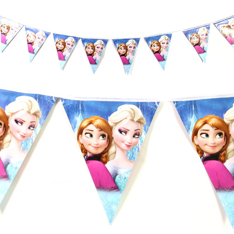 3M 12flags Frozen Movie Queen Elsa Princess Anna Banner Flag Party for Kids Happy Birthday Decoration Baby Theme Party Supplies