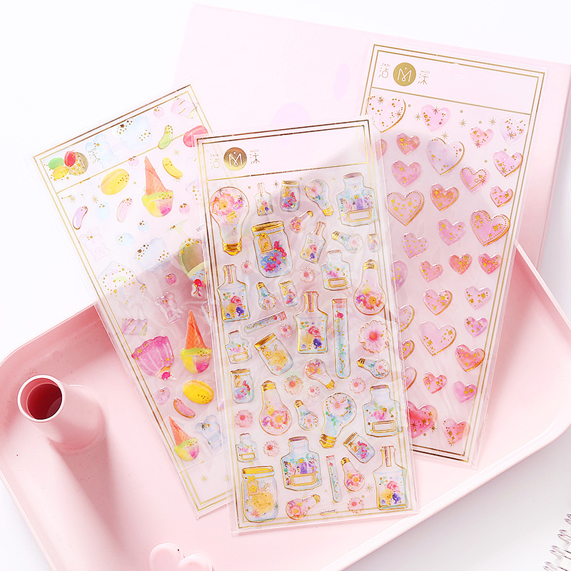 High Quality 1 Sheet Crystal Epoxy Drop Shape 3D Pink Love Sakura Waterproof Children Diamond Stickers For Diary