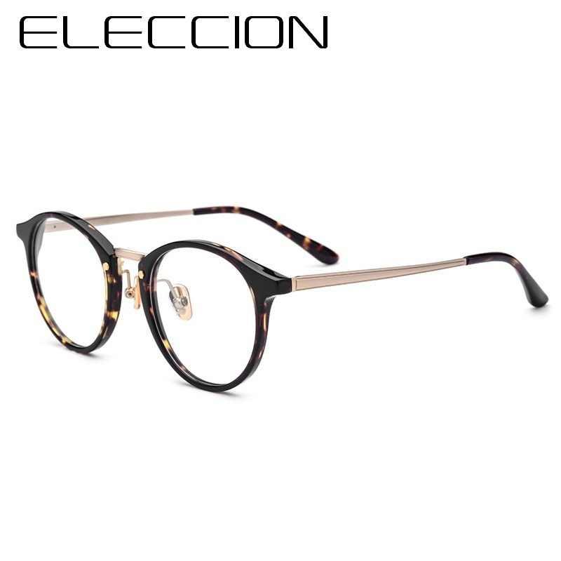 b0664a1bc83 ELECCION Eyewear Acetate Frames Round Glasses Frame For Men 2018 New Optical  Myopia Prescription Eyeglass Women