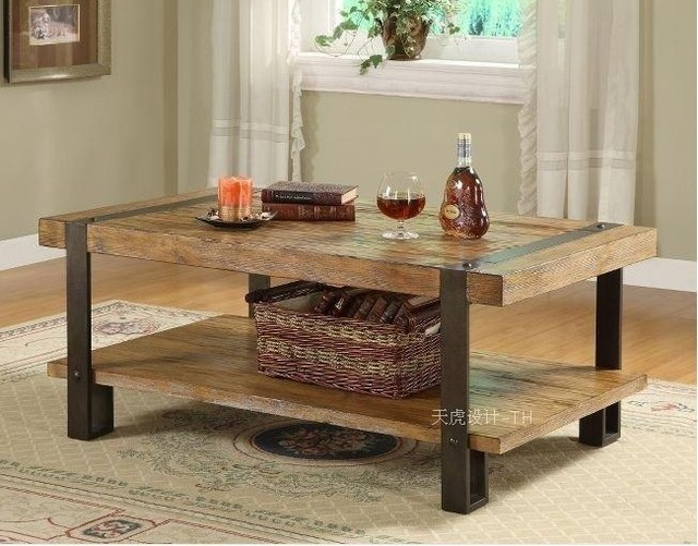 American Retro Furniture Wrought Iron Rustic Made Of Solid Wood Coffee Table