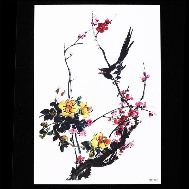 Flower Birds Decal 1 Sheet Waterproof Tattoo Ancient Plum Blossom HB552 Temporary Tattoo Sticker For Women Men Body Arm Back Art
