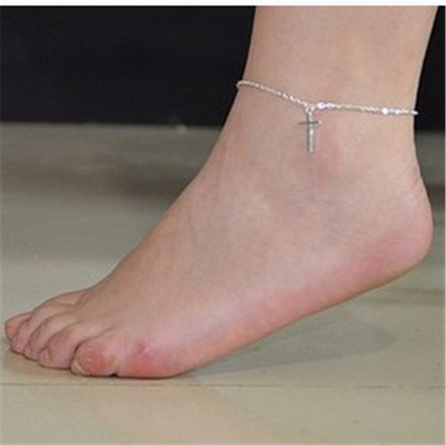 Fashion Jewelry Cross Gold sliver Plated Leg Bracelet Foot Chain Jewelry  Women Anklet Foot Simple Anklet Chain tornozeleira 0f5f550bf65d