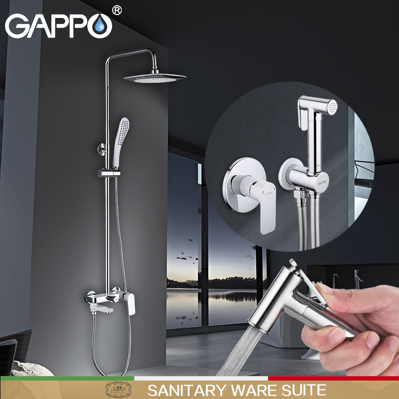 GAPPO shower faucets Bathroom Bidet Faucets Brass mixer shower bathtub taps rainfall shower wall shower head Sanitary Ware Suite