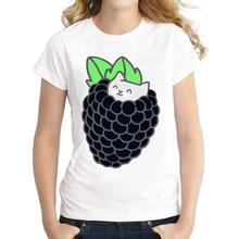 Blackberry Kitten Printed Women T-Shirt Short Sleeve Tops Novelty Funny Tee Shirts 2016 Fashion Women T Shirt