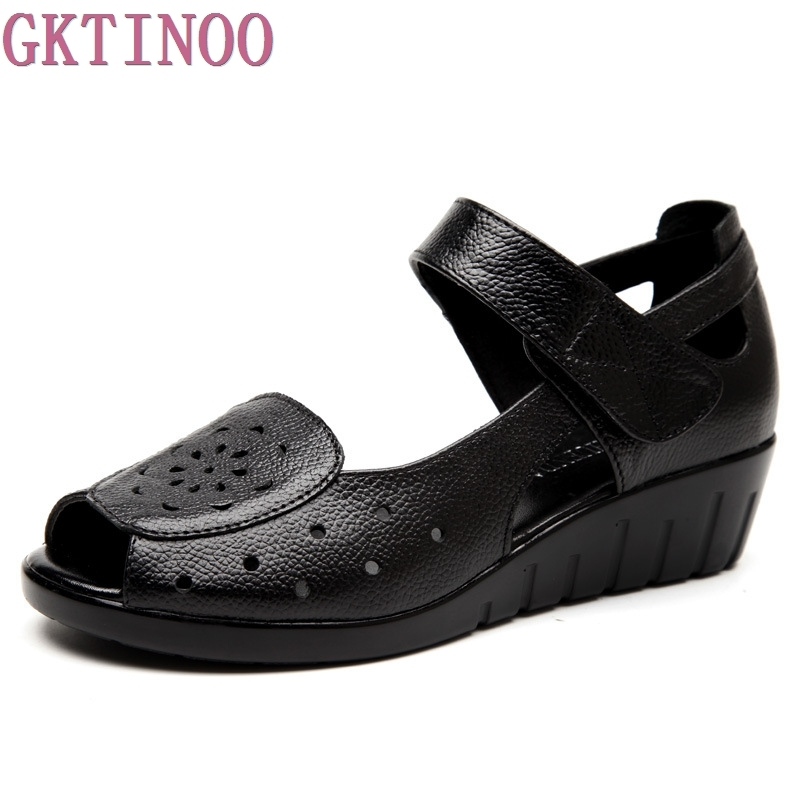 2017 handmade leather low with hollow out sandals shoes leather wedges soft bottom leisure shoes in the summer of mother ag46 Women Sandals Genuine Leather Breathable Summer Shoes Open Toe Mother Sandals Hollow Out Wedges Women's Shoes Plus Size 35-42