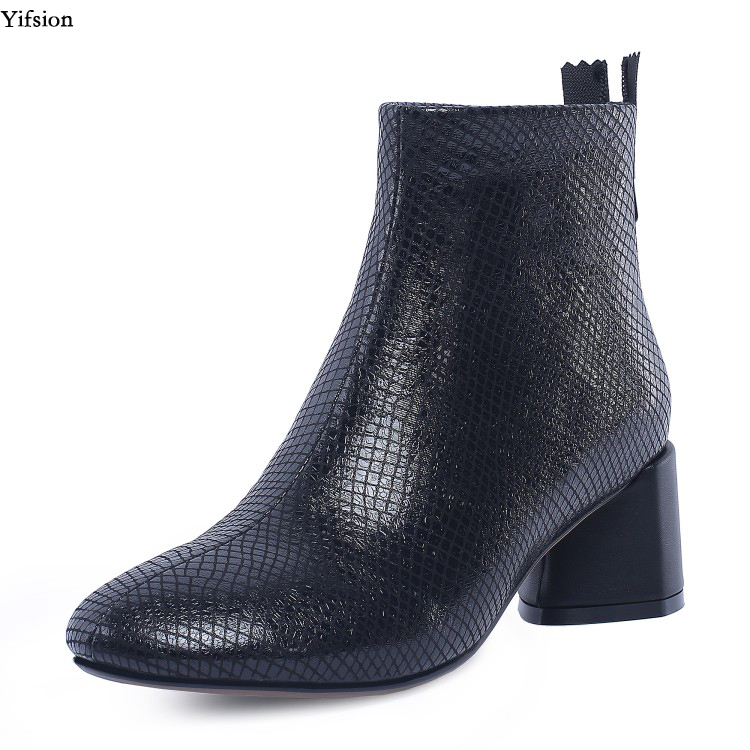 Partie Yifsion Chaussures 5 4 Rond Bottes Noir Cheville Cuir En Nouvelles D'hiver Talons Argent Femmes D0426 d0426 Bout Taille Silver Black Nous Bureau 10 SrwHOxS