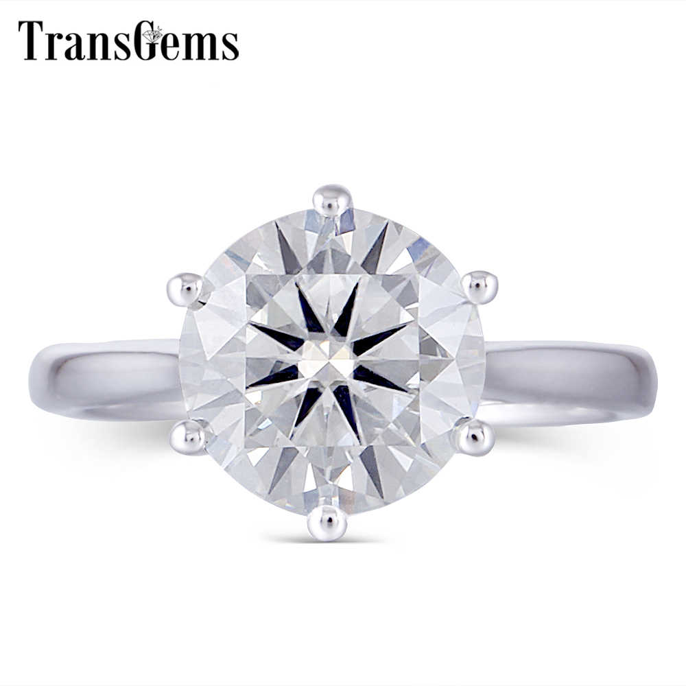 Transgems Center 3ct 9 มม.GH สี VVS1-2 Moissanite แหวนหมั้นแหวนเงินสเตอร์ลิง Platinum Plated แหวนเงิน Moissanite
