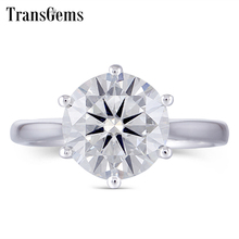 Transgems Center 3ct 9mm GH Color VVS1-2 Moissanite Engagement Ring for Women Sterling Platinum Plated Silver