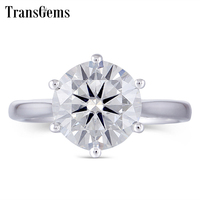 Transmems центр 3ct 9 мм GH цвет VVS1 2 обручальное кольцо для женщин Стерлинговое Платиновое Покрытие Серебряное кольцо Moissanite