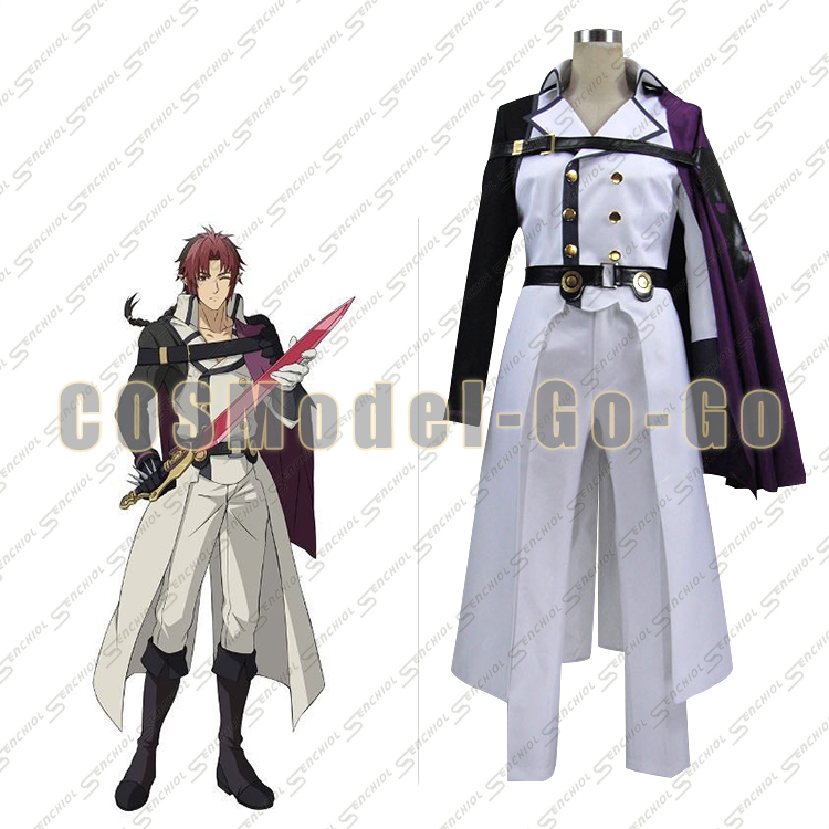 Seraph of the end Crowley Eusford uniform cosplay costume with cape and gloves