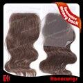 коричневый 14 дюймов волны индийского перуанских девственных волос объемная волна круёева закрытия с узелками