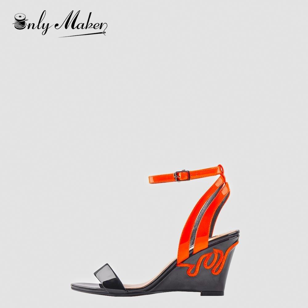 Onlymaker/модные женские оранжевые сандалии с открытым носком и ремешком на щиколотке; туфли без задника на танкетке с вышивкой в восточном стил...