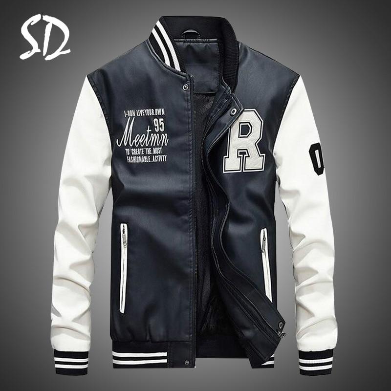 Men Pu Faux Leather Jacket 2019 Brand Embroidery Baseball Jackets Male Casual Luxury Winter Warm Fleece Pilot Bomber Coat New