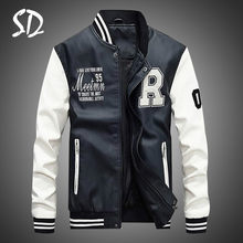 Männer Pu Faux Leder Jacke 2019 Marke Stickerei Baseball Jacken Männlichen Casual Luxury Winter Warme Fleece Pilot Bomber Mantel Neue(China)