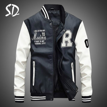 Men Pu Faux Leather Jacket 2019 Brand Embroidery Baseball Jackets Male Casual Luxury Winter Warm Fle