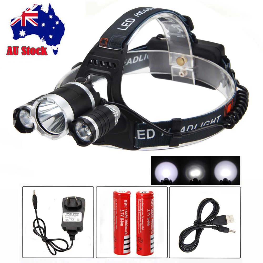 30W 15000LM 3x XM-L T6 LED Rechargeable Headlamp Lamp Hunting fishing Head Torch Headlight Light + 2x 18650 Battery USB Charger
