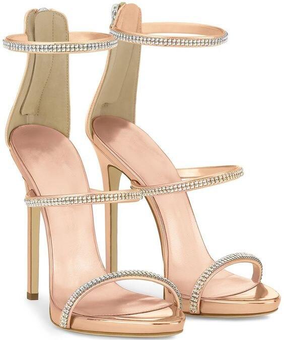 Diseño simple mujeres brillante champán cristal dorado Stiletto tacones sandalias vestido moda línea estilo sandalias Zip vestido zapatos