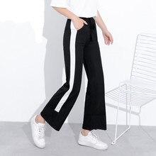 d6967bba3ae Cotton Linen Patchwork Side White Striped Wide Leg Pants Women Plus Size  5XL 2018 Spring Summer