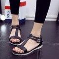 [Новый] 2016 модные женские сандалии квартиры-на металлические кнопки Черный белый прохладно летом сандалии тапочки. JYML-T66