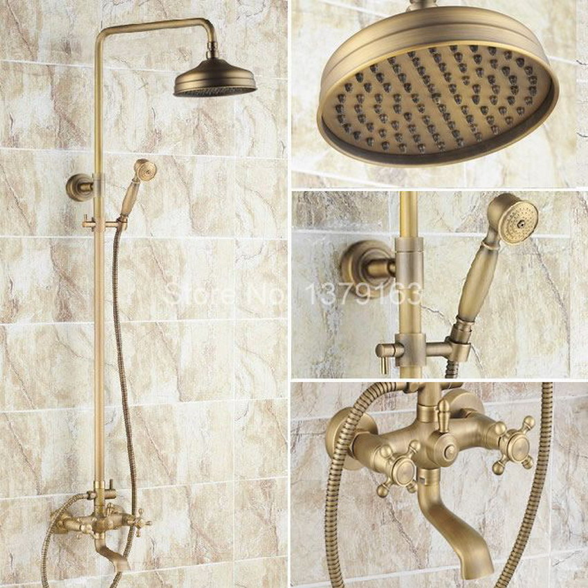Antique Brass Two Cross Handles Bathroom Rain Shower Faucet Set Tub Mixer Tap + 8 Round Rain Shower Head + Handshower ars046
