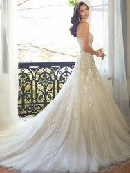 Sweetheart Light Champagne Lace Applique Wedding Dress With Color Beading Sash Bridal Gowns In Stock Robe De Mariage 3