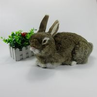 Big New Simulation Brown Rabbit Toy Plastic Fur Cute Rabbit Doll Model Gift 33x16x22cm A75