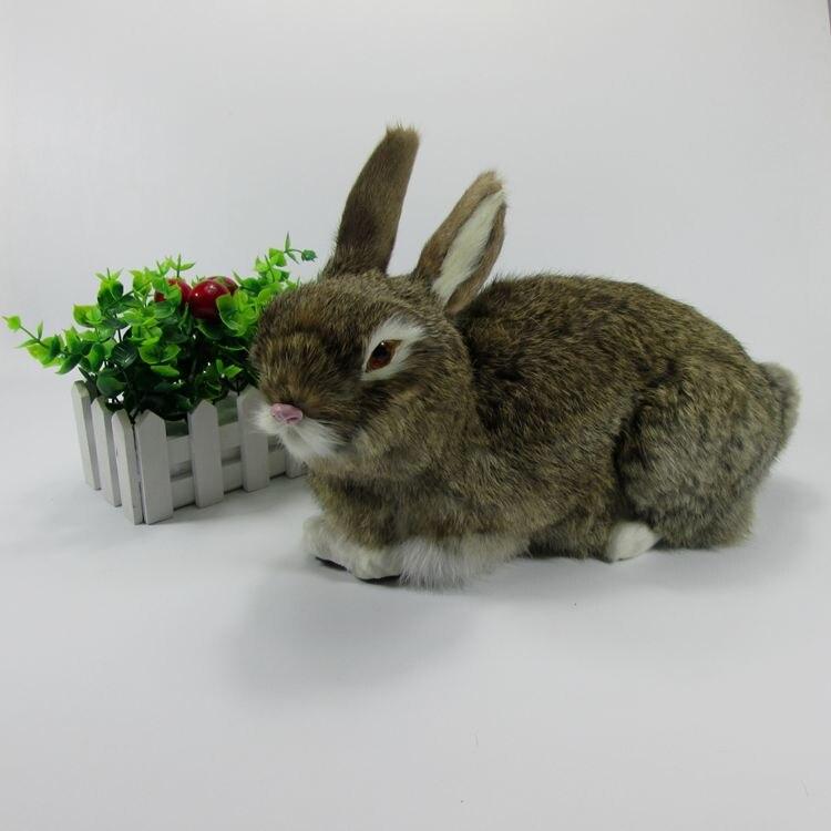 Grand nouveau jouet de lapin brun simulation plastique et fourrure mignon lapin poupée modèle cadeau 33x16x22 cm a75