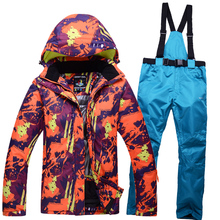 Free shipping ski suits Men Women couple clothes thick warm ski jacket and ski pants windproof waterproof outdoor sports suit