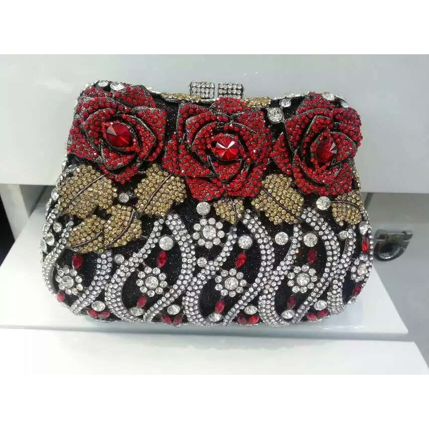 ФОТО #8268A Crystal ROSE Flower Floral Wedding Bridal Party Night hollow Metal Evening purse clutch bag case box handbag