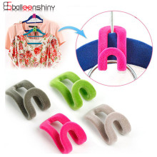 10PCS/Lot Cloth Hanger Hook Mini Flocking Clothes Hanger Easy Hook Closet Organizer Holder Random Color